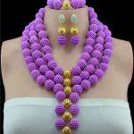 Christmas New Purple Crystal Beads <b>Jewelry</b> Sets <b>Handmade</b> Weaved Chunky Beaded Indian Bridal <b>Jewelry</b> Sets Free Shipping W13821