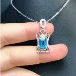 DJ CH All-Natural Emerald Cut 6X8MM Genuine Aquamarine Pendant with Chain,Sterling <b>Silver</b> 925 <b>Jewelry</b> Gems Stone Pendant Charms