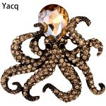 YACQ Octopus Brooch Pin <b>Antique</b> Gold Silver Color Crystal Animal Bling Women <b>Jewelry</b> Gifts Her Wife Wholesale Dropshipping BA16