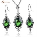 Wonderful Vintage Design Sterling <b>Silver</b> 925 Stamp Created Emerald Stone Fashion Women Jewelry Set For Engagement Jewelry Sets