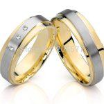 fashion Two Tone style CZ diamonds <b>Handmade</b> titanium wedding <b>jewelry</b> couples engagement rings sets
