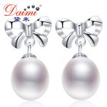 DAIMI 2016 New Cute Freshwater pearl 9-10 mm Pearl <b>Earrings</b> For Women Christmas Gift Drop shape Pearl Jewelry