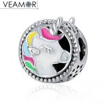 VEAMOR Authentic 100% 925 Sterling Silver Mixed Enamel Unicorn Charms Beads Fit Pandora Bracelets Bangles DIY <b>Jewelry</b> <b>Making</b>
