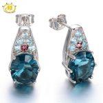 Hutang Natural Blue Fluorite & Tourmaline & Apatite Stud <b>Earrings</b> Solid 925 Sterling <b>Silver</b> Women's Party Fine Gemstone Jewelry