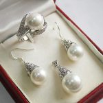 Women's Wedding beautiful 12mm White Shell Pendant Necklace Earrings rings set >AAA GP Bridal real silver-<b>jewelry</b>