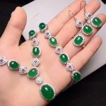 Yu Xin Yuan Fine Jewelry Natural Ice Of Green Chalcedony Necklace Hand Catenary Ring Stud <b>Earrings</b> Four Pieces Sets