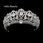 Big Vintage Rhinestone Prom Queen Crown Crystal Bride Quinceanera Tiaras Bridal Head <b>Jewelry</b> Pageant Wedding Hair Accessories