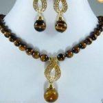 Prett Lovely Women's Wedding charm 8MM tiger's eye beads pendant necklace earring se sterling-silver-<b>jewelry</b>