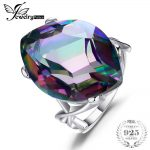JewelryPalace 30ct Rainbow Fire Mystic Topas Ring For Women Concave Cut Solid 925 Sterling Silver Ring For Women Fashion <b>Jewelry</b>