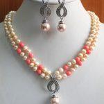 Women's Wedding shipping> >>>>>New 2 Rows Yellow/Orange Shell Pearl/gem Necklace Earring Pendant set moda real silver-<b>jewelry</b>