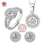 YHAMNI 100% 925 Sterling <b>Silver</b> Jewelry Sets Round CZ Diamant Pendant <b>Necklace</b> Earrings Ring Women's Wedding Jewelry Sets YS014