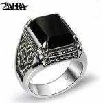 ZABRA Real 925 <b>Silver</b> Black Zircon Ring For Men Female Engraved Flower Men Fashion <b>Sterling</b> Thai <b>Silver</b> <b>Jewelry</b> Synthetic Onyx