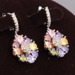 Direct selling Multicolor Morganite Limited 925 Sterling <b>Silver</b> Drop Dangle Flowers <b>Earrings</b> For Women S5111