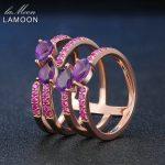 LAMOON 4 Pieces 5x3mm 100% Natural Amethyst 925 Sterling <b>Silver</b> Ring Cocktail <b>Jewelry</b> Purple Gift Girlfriend LMRI042