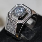 Fashion <b>Jewelry</b> Solitaire Men 8mm Gem 5A Zircon stone 14KT White Gold Filled Engagement <b>Wedding</b> Band Ring Sz 7-13