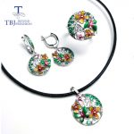 TBJ,2018 new enamel jewelry set pendant <b>earring</b> ring 925 sterling <b>silver</b> fine jewelry with leather chord necklace for women gift