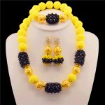 nigerian wedding african beads <b>jewelry</b> set Crystal beads 14color one layer yellow black statement <b>necklace</b> sets for women