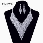 YFJEWE Wedding Gifts Crystal Jewelry Set <b>Silver</b> plated zinc alloy necklace for women long necklaces <b>earring</b> jewelry sets #N129