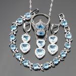 Wedding Jewelry Sets For Women Sky Blue Stones White CZ <b>Silver</b> 925 Ring Size 6/7/8/9/10 <b>Bracelet</b> Length 20CM Free Jewelry Box