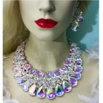 Unique High quality AB crystal Statement <b>jewelry</b> sets For bride wedding <b>necklace</b> earrings women party <b>jewelry</b> water drop shap