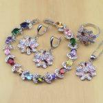 Flower Multi-color Stones 925 Sterling Silver <b>Jewelry</b> Sets Women Earrings/Pendant/<b>Necklace</b>/Ring/Bracelet