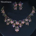 ThreeGraces Gold Color Multi Color Flower Cubic Zirconia Crystal African Costume Wedding Party <b>Jewelry</b> Sets For Women JS096
