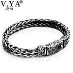 V.YA Vintage 925 Sterling <b>Silver</b> Dragon Grain <b>Bracelet</b> Men Jewelry Thai <b>Silver</b> Keel <b>Bracelets</b> Bangles Male Gifts