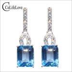 Vintage <b>silver</b> topaz drop <b>earrings</b> for evening party 6 mm * 8 mm natural sky blue topaz <b>earrings</b> 925 <b>silver</b> topaz drop <b>earrings</b>
