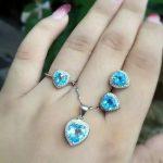 Natural blue topaz set S925 <b>silver</b> inlaid jewelry wholesale Sterling <b>Silver</b> Ring Pendant <b>Earrings</b> Set + FREE SHIPPING