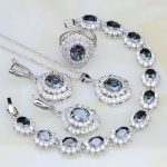 Mystic Rainbow Cubic Zirconia White CZ 925 <b>Silver</b> Bridal Jewelry Sets For Women Wedding Necklace/Earrings/Pendant/Ring/<b>Bracelet</b>