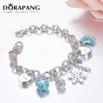 DORAPANG Heart Shaped Lock <b>Bracelet</b> & Bangle 100% 925 Sterling <b>Silver</b> Blue Gift Pendant Simple Design For Women Elegant Jewelry