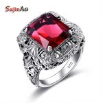 Szjinao Unique Handmade 925 Sterling <b>Silver</b> Ring with Ruby Stones for Men Vintage Luxury Women Party <b>Jewelry</b> Factory Wholesale