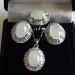 Women's Wedding wonderful lady's 10-14mm white gem beads 18KGP ring#7/8/9 pendant & earring set silver- moda
