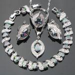 New Magic Rainbow Zircon <b>Silver</b> 925 Costume Jewelry Sets Women <b>Bracelets</b> Earrings Pendant Necklace Rings Set Jewellery Gift Box