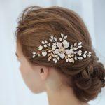 Handmade Gold Color Big Metal Flower Hair Comb Leaves Bridal Hair <b>Jewelry</b> Wedding Hair Accessories