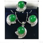 Prett Lovely Women's Wedding Silver green gem crystal earrings necklace pendant ring set For women 5.23 silver-<b>jewelry</b> brincos