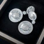 Vecalon Sparkling Office Lady <b>Jewelry</b> Dangle earring AAAAA Zircon Cz White Gold Filled <b>wedding</b> Drop Earring for women