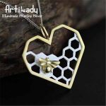 Artilady 925 sterling silver honey comb pendant elegant <b>handmade</b> bee comb pendant for women <b>jewelry</b> gift party occasion