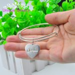 925 Sterling <b>Silver</b> Personalized Arabic <b>Bracelet</b> Bangle Engraved Heart Pedant Name Adjust Expandable Wire Bangle Mom's Gift