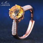LAMOON Luxury 2 Carat 8mm Citrine Rings For Women S925 Sterling <b>Silver</b> Fine <b>Jewelry</b> Wedding Party Engagement Ring Anillo LMRI001
