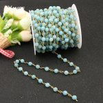 5Meter Sea Blue Optimized Aquamarine Faceted Beads Chain Rosary Chains Copper Tone Wire Wrapped Necklace <b>Fashion</b> Bracelet Making