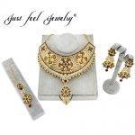 JUST FEEL Luxury Crystal <b>Jewelry</b> Set India Flowers Gold Color <b>Necklace</b> Earrings Headdress Arab/Africa Wedding Bride's Dowry