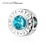 ATHENAIE 925 Sterling <b>Silver</b> 4 Colors Crystal Radiant Blue CZ Bead Fit All European Charm <b>Bracelet</b> Authentic Jewelry Gift