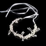 Beautiful Pearl Bride Headbands 42cm <b>Handmade</b> Rhinestones Wedding Hair Accessories for Bridal Hair <b>Jewelry</b> Headdress Gift