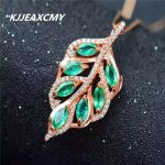 KJJEAXCMY boutique <b>jewelry</b>,925 <b>sterling</b> <b>silver</b> inlaid with natural emerald female Pendant with precious stones and leaves