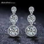 ANFASNI New Arrival Real 925 Sterling Silver Elegance Three Clear Round CZ Vintage Earrings For Women <b>Wedding</b> Party <b>Jewelry</b> 113B