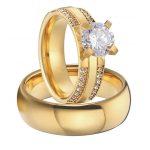 luxury custom titanium <b>jewelry</b> cubic zirconia gold color alliance men and women <b>wedding</b> engagement ring sets