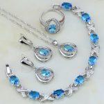 Trendy Sky Blue Cubic Zirconia White CZ 925 <b>Silver</b> Jewelry Set For Women Wedding Earring/Pendant/Necklace/<b>Bracelet</b>/Ring 4PCS