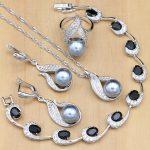 <b>Silver</b> 925 Bridal Jewelry Sets Pearls Beads For Women Wedding Drop Earrings Necklace Ring Natural Black Zircon <b>Bracelet</b>