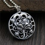 <b>Necklaces</b> & Pendants Hollow Lotus Flower Engraved Round Shape Real Pure 925 Sterling <b>Silver</b> Vintage Ethnic Amulets Charms